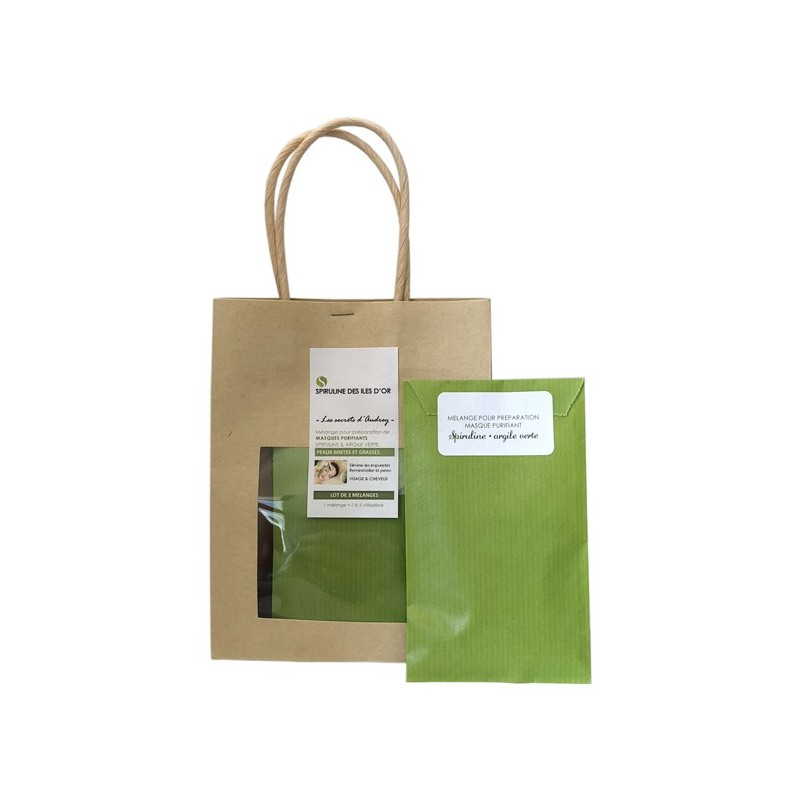 Lot de 3 mélanges Spiruline / argile verte